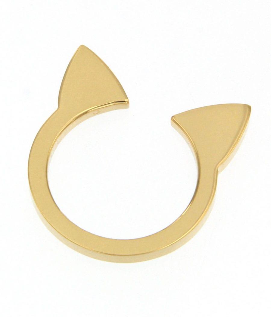 Maman et Sophie, anello Gatto, anello aperto in lastra di argento 925 placcato oro